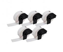 5 Etiquettes Compatibles, Brother DK11219 12 mm Ronde 1.200 / Rouleau Blanc