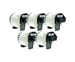 5 Etiquettes Compatibles, Brother DK44205 62 mm x 30.48m Rouleau Blanc