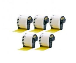 5 Etiquettes Compatibles, Brother DK44605 62mm x 30.48m Jaune