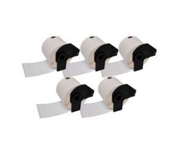 5 Etiquettes Compatibles, Brother Rouleau DK11241 102mm x 152mm 200 / Rouleau Blanc