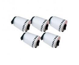 5 Etiquettes Compatibles, Brother DK22243 102mm x 30.48m Rouleau Blanc