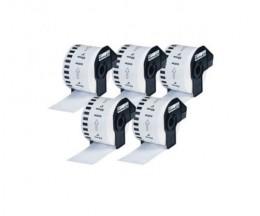 5 Etiquettes Compatibles, Brother DK22223 50mm x 30.48m Rouleau Blanc