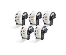 5 Etiquettes Compatibles, Brother DK22225 38mm x 30.48m Rouleau Blanc