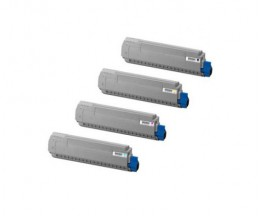 4 Toners Compatibles, OKI 4405916X Noir + Couleur ~ 8.000 Pages