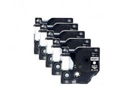 5 Ruban Compatibles, DYMO 45021 NOIR / BLANC 12mm x 7m