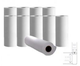 10 Rouleaux de papier thermique 110x50x11mm