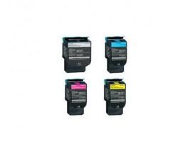 4 Toners Compatibles, Lexmark C544X Noir + Couleur ~ 6.000 / 4.000 Pages