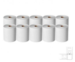 10 Rouleaux de papier thermique 57x55x12mm