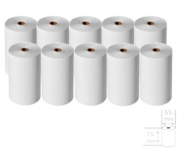 10 Rouleaux de papier thermique 75x55x12mm