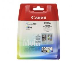 2 Cartouches Originales, Canon PG-40 / CL-41 Noir 16ml + Couleur 12ml