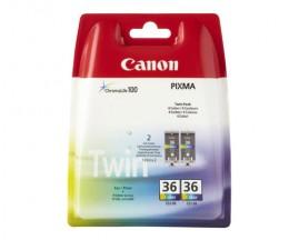 2 Cartouches Originales, Canon CLI-36 Couleur 12ml