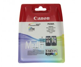 2 Cartouches Originales, Canon PG-510 / CL-511 Noir 9ml + Couleur 9ml
