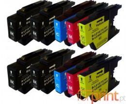 10 Cartouches Compatibles, Brother LC-1220 / LC-1240 / LC-1280 Noir 32.6ml + Couleur 16.6ml