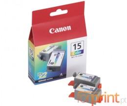 2 Cartouches Originales, Canon BCI-15 Couleur 7.5ml