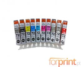 10 Cartouches Compatibles, Canon PGI-72 Noir + Couleur 14ml
