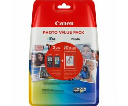 2 Cartouches Originales, Canon PG-540 XL / CL-541 XL Noir 21ml + Couleur 15ml + 50 Feuilles 10x15cm