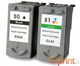 2 Cartouches Compatibles, Canon PG-37 / PG-40 / PG-50 Noir 22ml + CL-38 / CL-41 / CL-51 Couleur 21ml