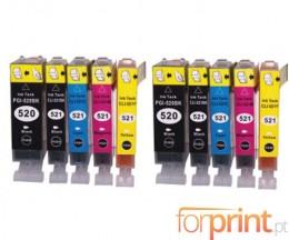 10 Cartouches Compatibles, Canon PGI-520 Noir 19.4ml + CLI-521 Couleur 9ml