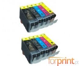 10 Cartouches Compatibles, Canon PGI-5 / CLI-8 Noir 26.8ml + Couleur 13.4ml