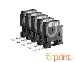 5 Ruban Compatibles, DYMO 45012 ROUGE / TRANSPARENT 12mm x 7m