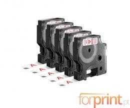 5 Ruban Compatibles, DYMO 45015 ROUGE / BLANC 12mm x 7m