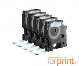 5 Ruban Compatibles, DYMO 45020 BLANC / TRANSPARENT 12mm x 7m