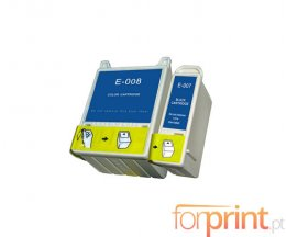 2 Cartouches Compatibles, Epson T007 Noir 16ml + T008 Couleur 43ml