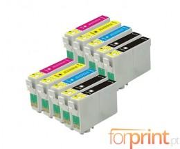 10 Cartouches Compatible, Epson T2991-T2994 Noir 17ml + Coleur 13ml