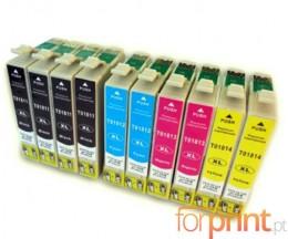 10 Cartouches Compatibles, Epson T1811-T1814 Noir 17ml + Couleur 13ml