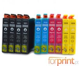 10 Cartouches Compatibles, Epson T1631-T1634 Noir 17ml + Couleur 11.6ml