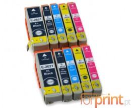 10 Cartouches Compatibles, Epson T2621 Noir 26ml + T2631-T2634 Couleur 13ml