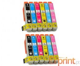 12 Cartouches Compatibles, Epson T2431-T2436 Noir 13ml + Couleur 13ml