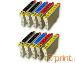 10 Cartouches Compatibles, Epson T0611-T0614 Noir 17ml + Couleur 15ml