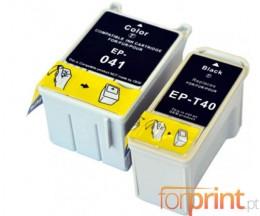 2 Cartouches Compatibles, Epson T041 Couleur 37.2ml + T040 Noir 17.8ml