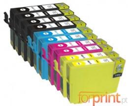 10 Cartouches Compatibles, Epson T1281-T1284 Noir 13ml + Couleur 6.6ml