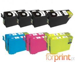 10 Cartouches Compatibles, Epson T1301-T1304 Noir 33ml + Couleur 14ml