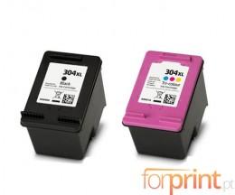2 Cartouches Compatibles, HP 304 XL Noir 20ml + Couleur 18ml