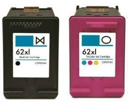 2 Cartouches Compatibles, HP 62 XL Noir 20ml + Couleur 18ml