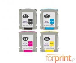 4 Cartouches Compatibles, HP 10 Noir 69ml + HP 11 Couleur 28ml