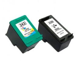 2 Cartouches Compatibles, Hp 343 Couleur 18ml + HP 339 Noir 25ml