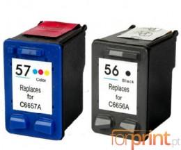 2 Cartouches Compatibles, HP 57 XL Couleur 18ml + HP 56 XL Noir 22ml