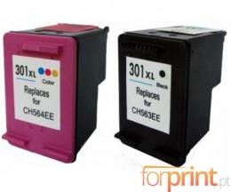 2 Cartouches Compatibles, HP 301 XL Noir 20ml + Couleur 17ml