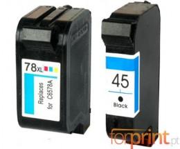 2 Cartouches Compatibles, HP 78 Couleur 39ml + HP 45 Noir 40ml