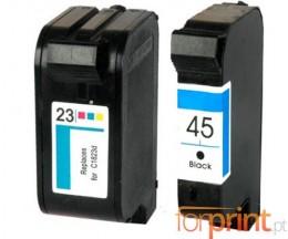 2 Cartouches Compatibles, HP 23 Couleur 39ml + HP 45 Noir 40ml