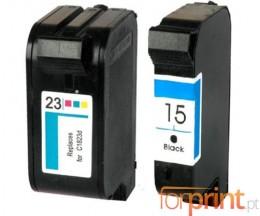 2 Cartouches Compatibles, HP 23 Couleur 39ml + HP 15 Noir 40ml