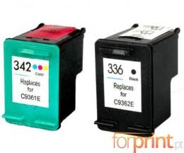 2 Cartouches Compatibles, HP 342 Couleur 18ml + HP 336 Noir 18ml