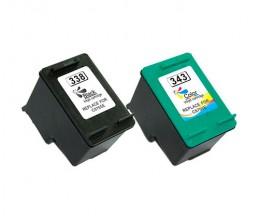 2 Cartouches Compatibles, HP 338 Noir 20ml + HP 343 Couleur 18ml