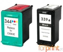 2 Cartouches Compatibles, HP 344 Couleur 18ml + HP 339 Noir 25ml