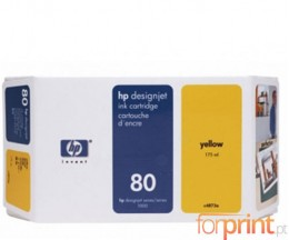 Cartouche Original HP 80 Jaune 175ml ~ 2.200 Pages