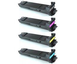 4 Toners Compatibles, Konica Minolta A0DKX53 Noir + Couleur ~ 8.000 Pages